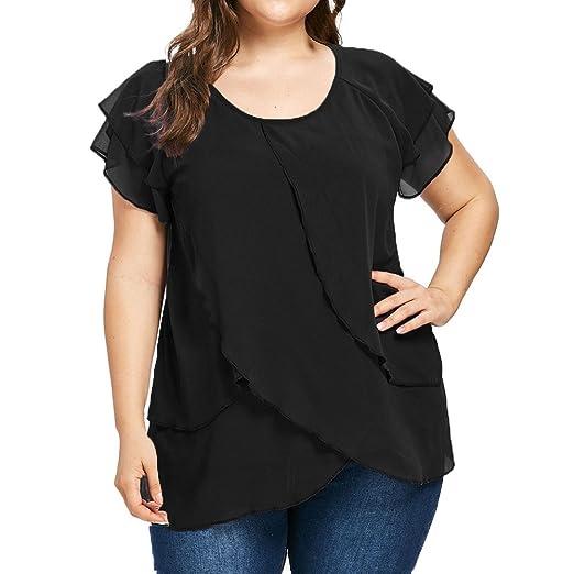 ZOMUSAR Women Casual Chiffon Plus Size Solid O-Neck T-Shirt Short Sleeve  Ruffles ff2535da8034