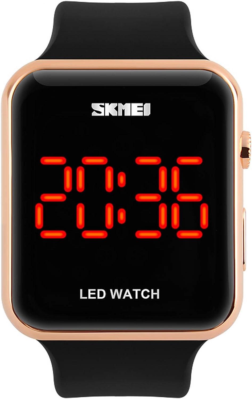 carlien Deporte Relojes Hombres Moda Digital LED Resistente al Agua Reloj de Silicona para Mujer Estudiante Reloj de Pulsera electrónica Digital-Watch