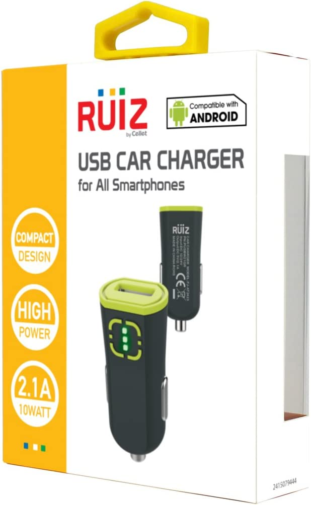 Low Profile Design//Charge Your iPhone 7//7s//6//6s// Samsung Galaxy S8//S8plus// LG G3// HTC//Ipad// Tablet Fast with The Smart chip to Prevent overcharging and overheating Cellet PUSBW21GR Universal 2.1A USB Car Charger