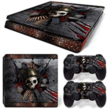 Ps4 Slim Playstation 4 Console Skin Decal Sticker Skull + 2 Controller Skins Set (Slim Only)