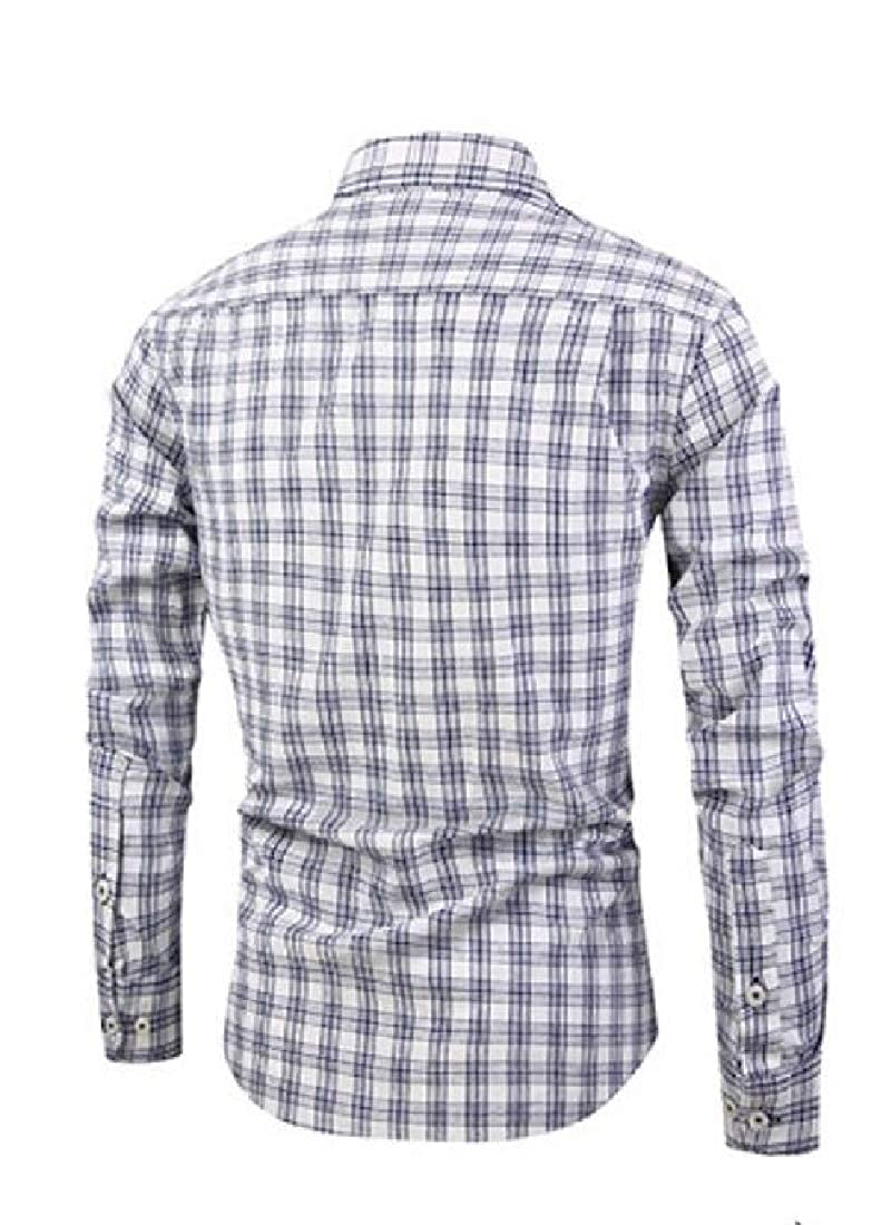 pipigo Men Fashion Plaid Curved Hem Lapel Neck Long Sleeve Button Down Shirts
