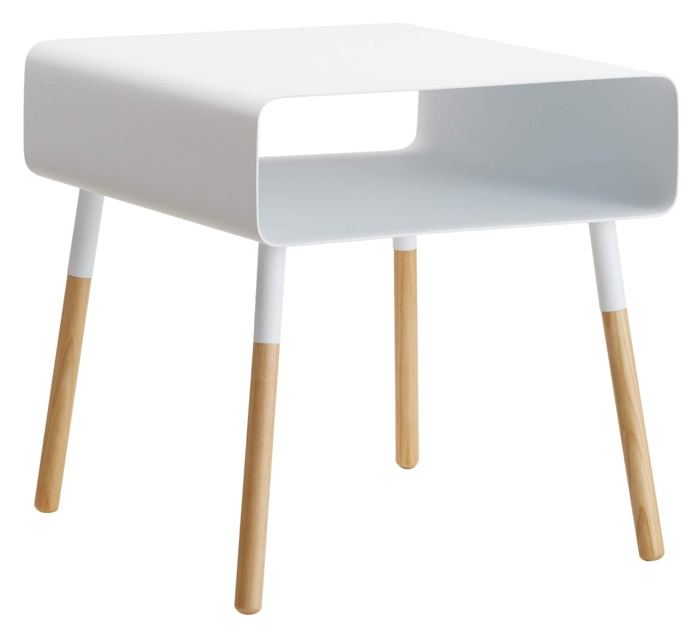 Red Co. Modern Minimalist Side Table with Storage Shelf, Wood & Steel, White Finish, 35 Inches by Red Co.