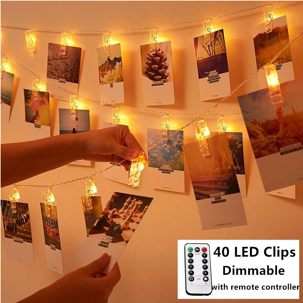 40 LED Photo Clips String Lights 8 Modes Battery Operated Indoor String Lights with Clips Remote Photo Hanging Lights for Hanging Pictures Cards Artwork Memos Warm White