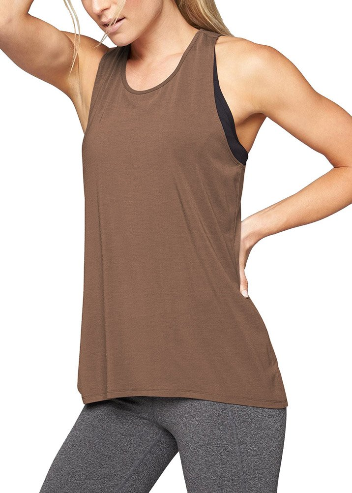 Mippo Women's Activewear Workout Tops Yoga Tank Loose Running Gym Shirts Racerback Tank Tops Sleeveless Active Clothes Coffee XL by Mippo (Image #2)