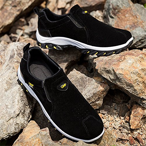 Easy Go Shopping Men's Outdoor Sneaker Flat Heel Slip On Athletic Shoes Cricket Shoes Black i9TP9H