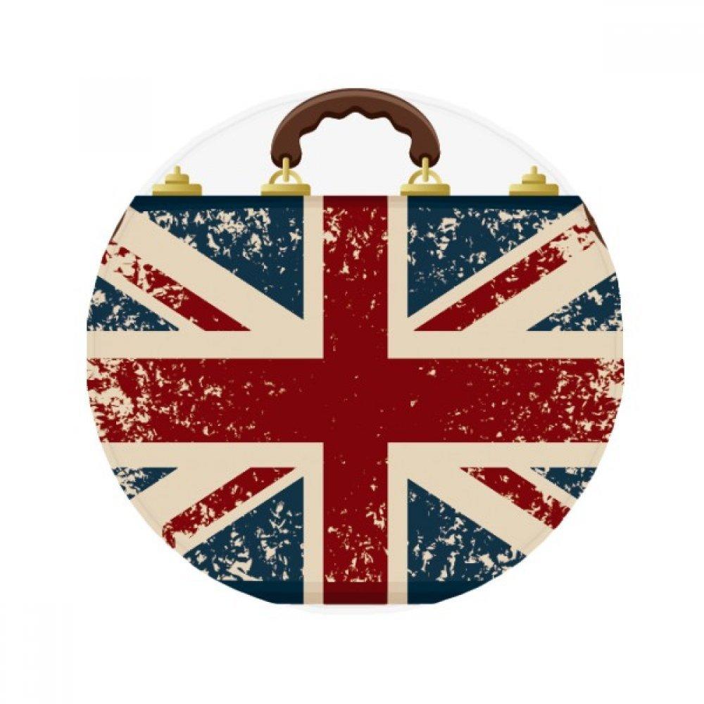60X60cm DIYthinker Union Jack Retro Suitcase Britain UK Flag Culture Anti-Slip Floor Pet Mat Round Bathroom Living Room Kitchen Door 60 50Cm Gift