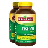 2 x 200Pk Nature Made Fish Oil 1200 mg Softgels Omega 3