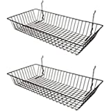 Black Wire Baskets for Slatwall and Gridwall (Set of 2), Merchandiser Baskets, Perfect for Retailers or Home Use, Black…