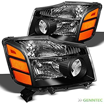 For 2004-2015 Titan, 2004-2007 Armada Black Replacement Headlights Front Lamps L+R Pair L+R/2005 2006 2007 2008 2009