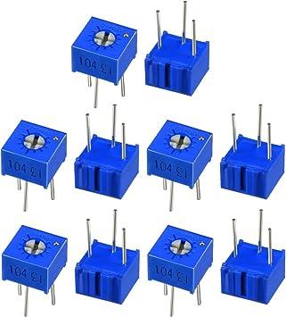 uxcell Resistors 100k Ohm Top Adjustment Horizontal Cermet Potentiometer 10 Pcs