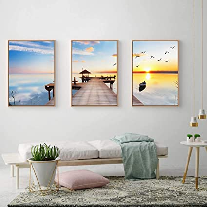 Amazon.com: iwallsticker Pier Sky Dock Canvas Wall Art Living Room ...