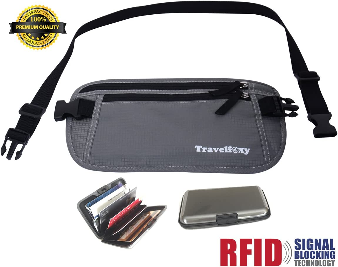 Undercover Passport and Credit Cards Holder Pouch Wallet for Men and Women RFID Blocking Hidden Security Money Belt for Travel Black