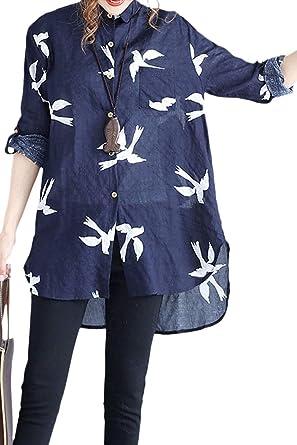 Camisa Mujer Elegante Y Largas Secciones Blusas Otoño Manga Larga Mode De Marca De Solapa Pájaro Impresión Top Impresión Alto Bajo Blusa: Amazon.es: Ropa y accesorios