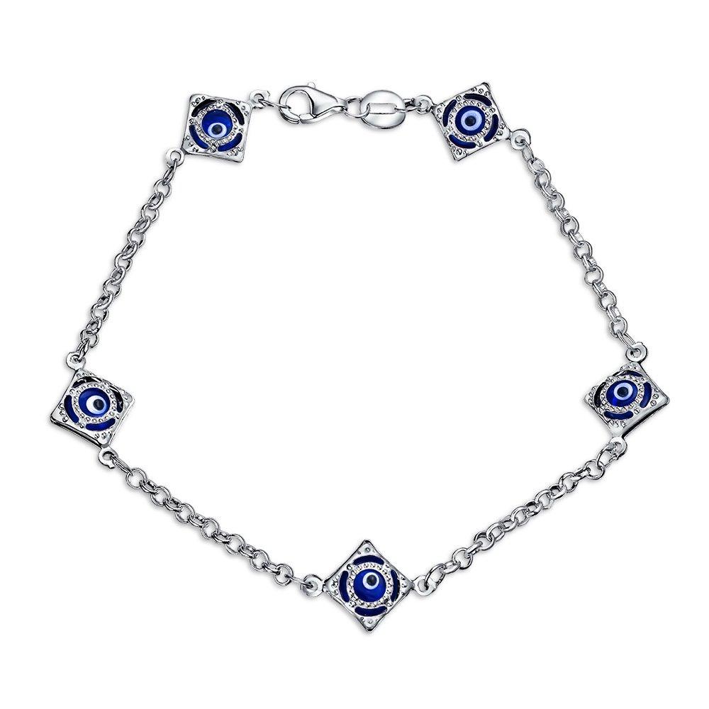 Bling Jewelry Bleu Marine Turque Oeil Mauvais Charme Bracelet pour Les Femmes Protection 925 Sterling Silver 7.5 inch
