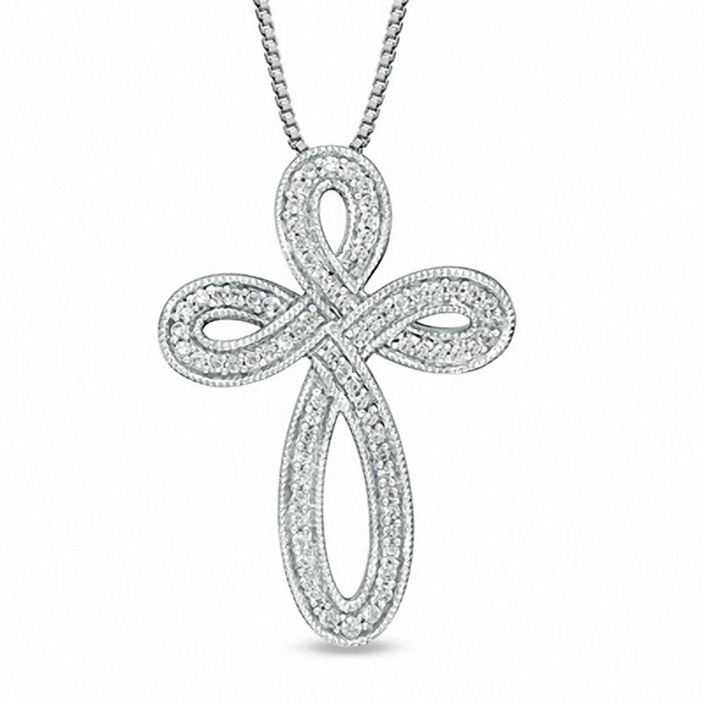 1/4 Cttw Diamond Milgrain Infinity Looped Cross Pendant Necklace in 925 Silver 18'' (IJ/I2-I3)
