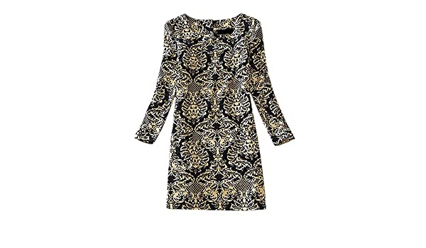 SODIAL(R)Womens clothing vintage winter european style dress long-sleeve vestido autumn women print casual dresses -Color 26, 4XL at Amazon Womens ...