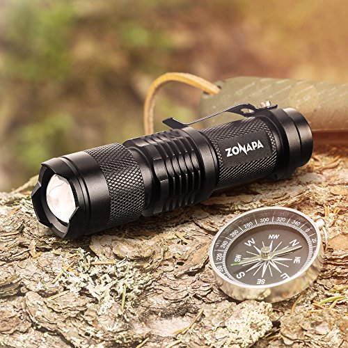 Portable Travel Hiking Emergency Camping 2-Pack 2 Pack Compact ZONAPA LED Mini Flashlights Ultra-Bright Lighting Battery Powered /… Indoor and Outdoor Use Tactical