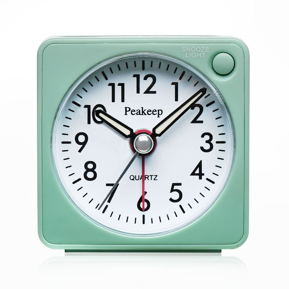Peakeep Ultra Small, Battery Travel Alarm Clock with Snooze and Light, Silent with No Ticking Analog Quartz (Aquamarine) Pekeep