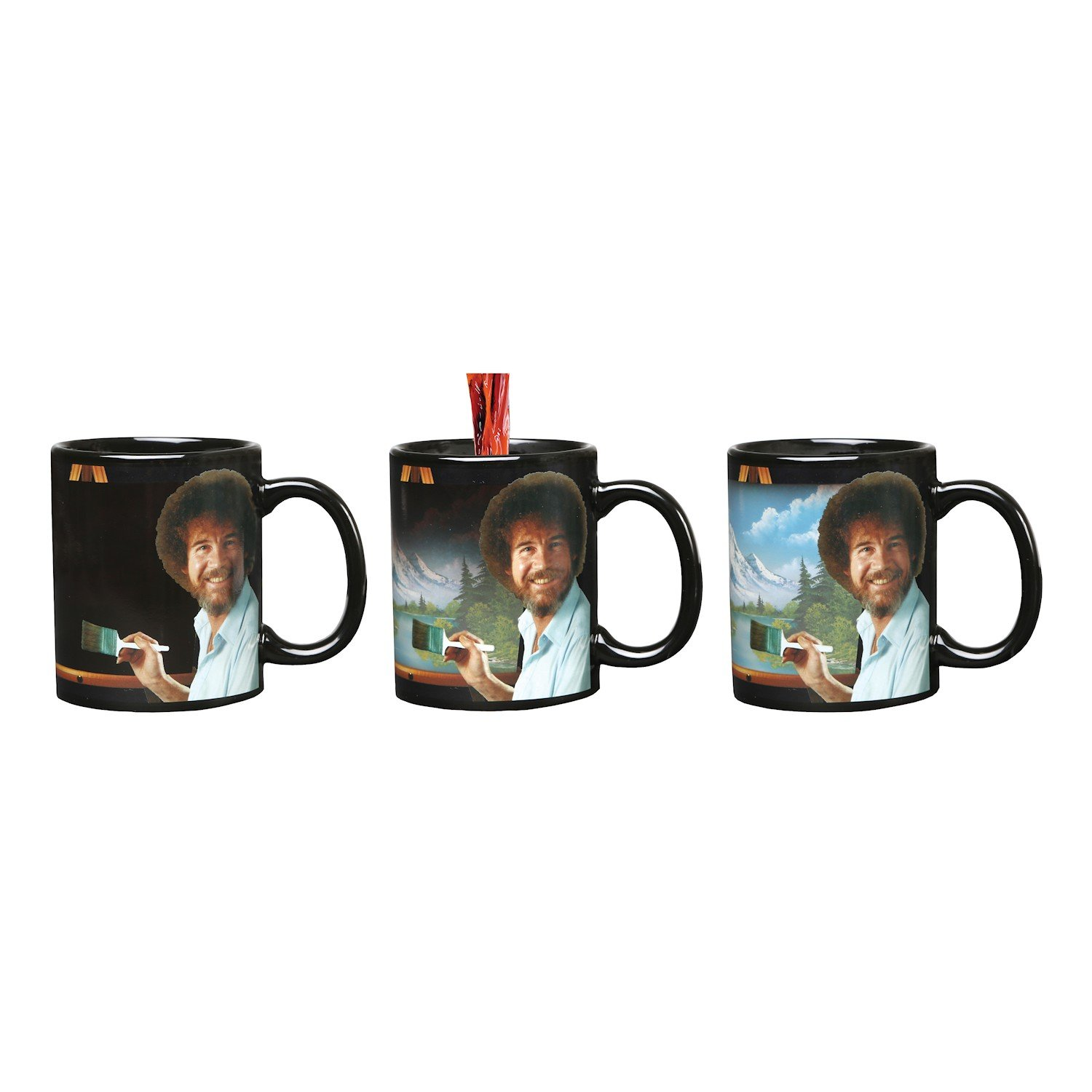 WHAT ON EARTH Bob Ross Heat Changing Mug - Ceramic 11 oz - See Painting Color Hot Liquids