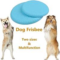 BUYGOO 2 Pièces Frisbees pour Chiens Doux et Naturels Disques Volants Jouet pour Mordre et Entraînement avec des Couleurs Brillantes pour Petit / Moyen / Grand Chien (Bleu)