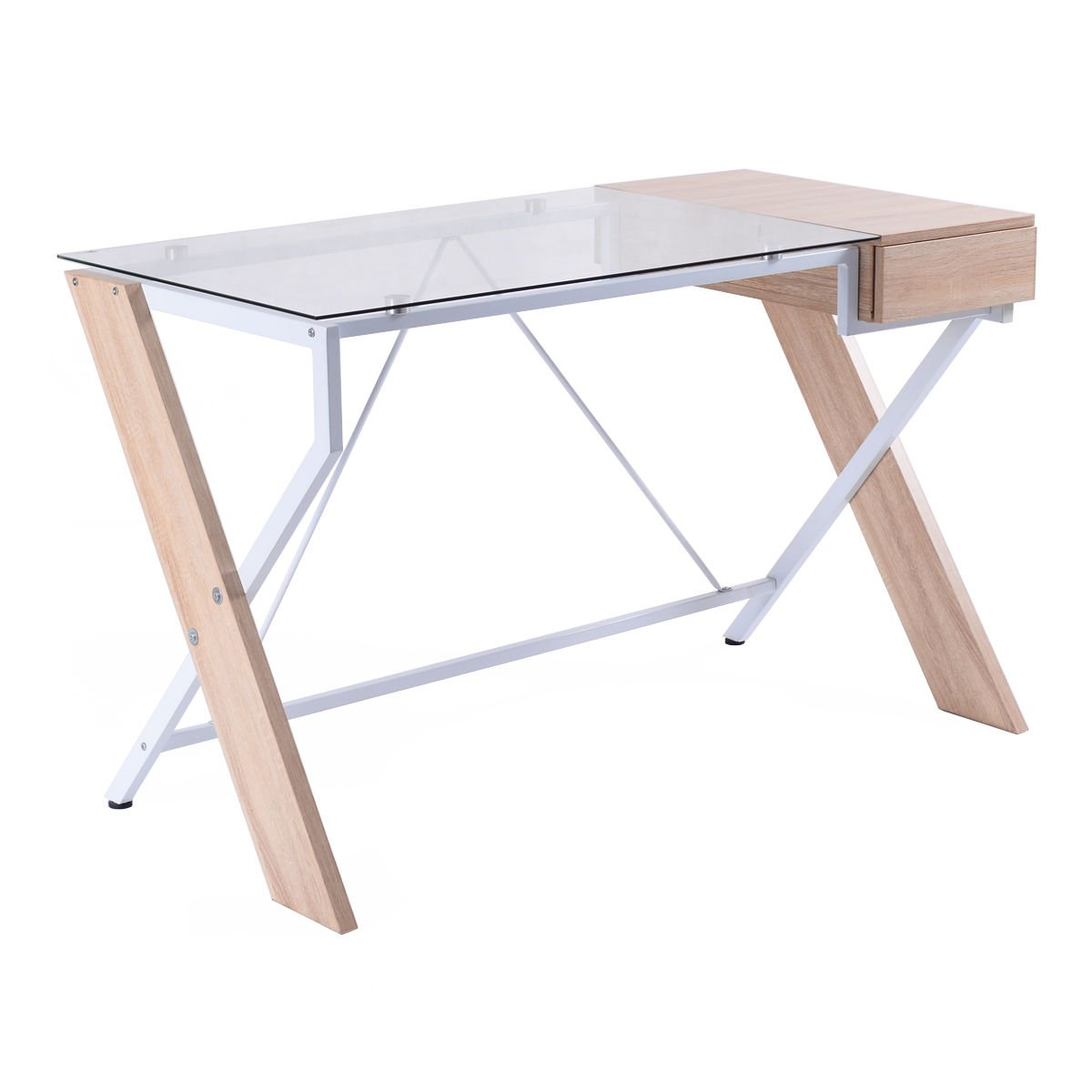 Amazoncom TANGKULA Laptop Computer Desk Wood wGlass Tabletop for