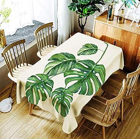 JUNGEN Mantel Rectangular 150 × 210cm Mantel Tropical con Impresión de la Hoja Verde Mantel de Poliester Mantel Decorativo para Cocina Comedor Jardín Muebles
