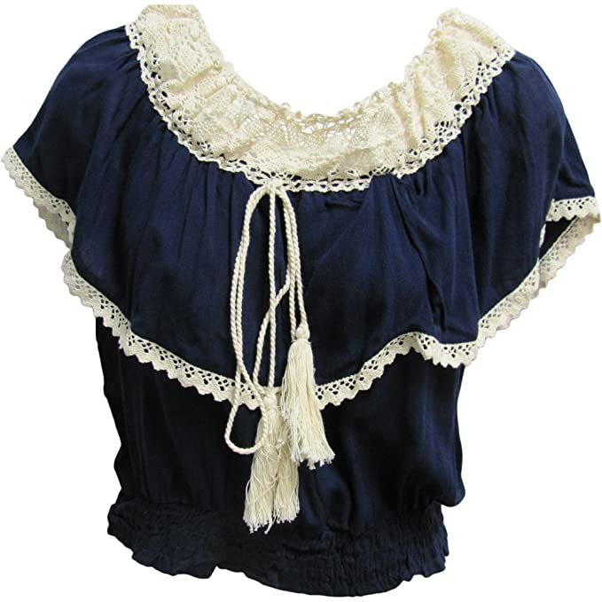 1940s Blouses, Shirts and Tops Fashion History Vintage Bohemian Ruffled Smocked Off Shoulder Peasant Top Blouse $25.00 AT vintagedancer.com