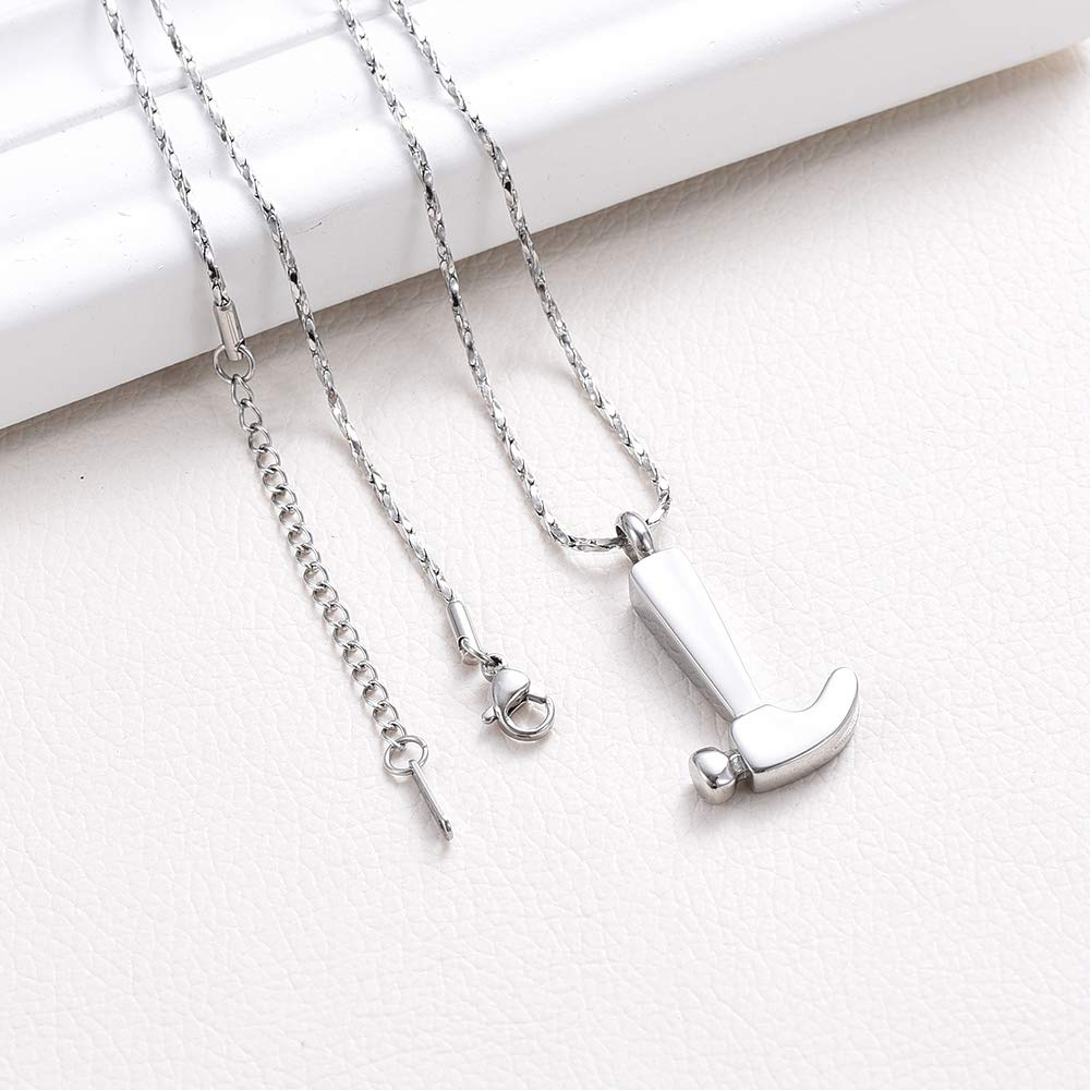 Tool Shape Cremation Urn Necklace Stainless Steel Laborer Ashes Keepsake Memorial Pendant Jewelry for Human Fill Kit