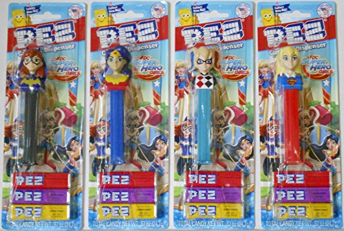 Pez Dispensers - Batgirl & Harley Quinn & Wonderwoman & Supergirl in Blister Card Packages with 3 Rolls of Pez Candy Each ()