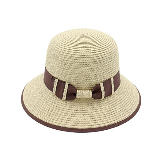cad58175 iShine Women Summer Sun Straw Hat UPF 50+ Foldable Wide Brim Floppy ...