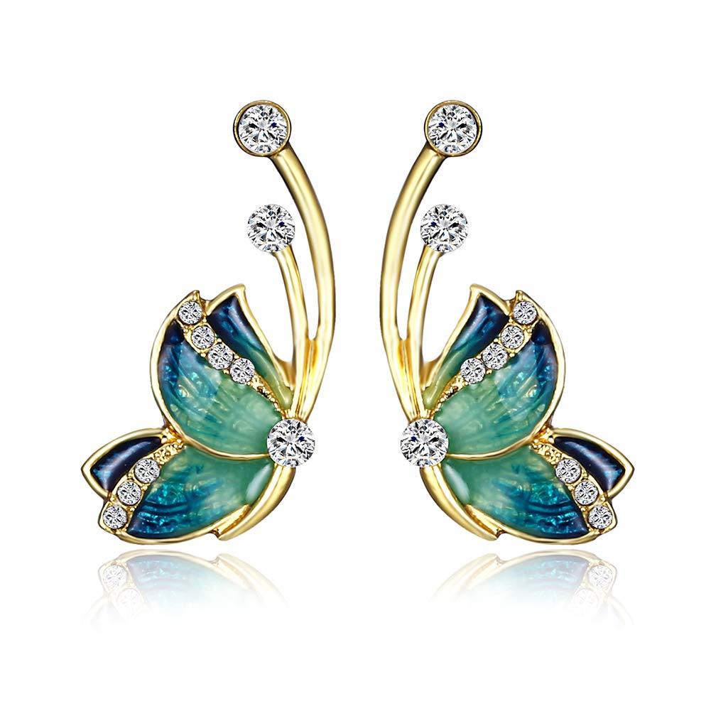 Oldlila Fashion Diamond Earrings Ladies Rhinestone Earrings Butterfly Shape Earrings Earrings Earrings