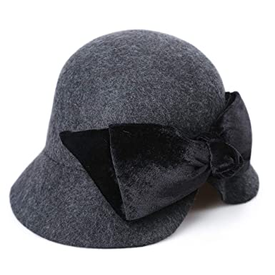 6a2b7d2986b Women s visor retro fisherman hat elegant dress hat winter flower hat(Black  One size) at Amazon Women s Clothing store