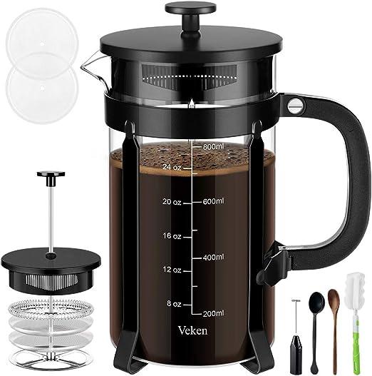 Amazon.com: Veken cafetera francesa de prensa de café ...