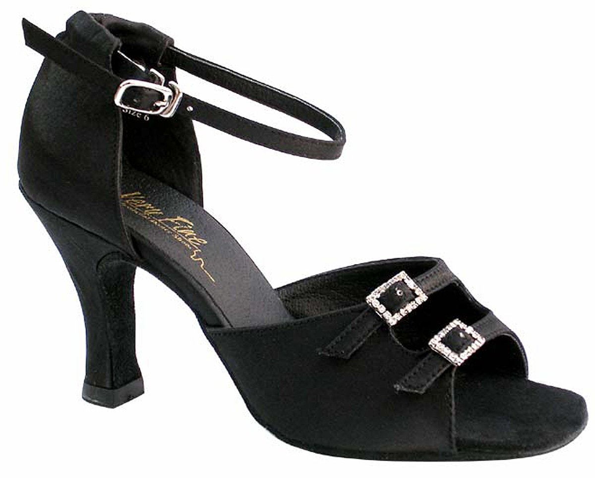 Very Fine Women's Salsa Ballroom Tango Latin Dance Shoes Style 1620 Bundle with Plastic Dance Shoe Heel Protectors, Black Satin, Heel 2.5 Inch, 10 M US