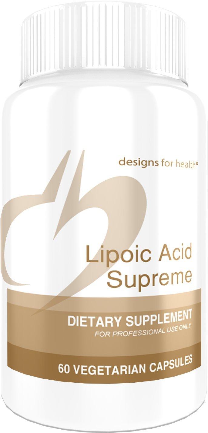 Designs for Health - Lipoic Acid Supreme - 300mg Alpha Lipoic Acid + 4000mcg Biotin + 500mg Taurine Blood Sugar Support, 60 Capsules