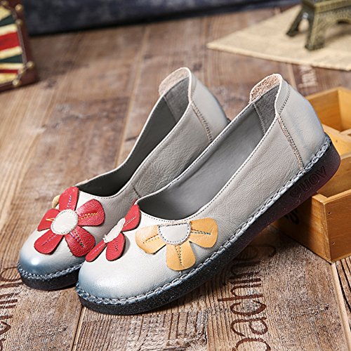 Womens Flowers Casual Spring Btrada Round Flat Loafers Moccasins Toe Shoes Grey Vintage Soft Driving Boat fwxEH