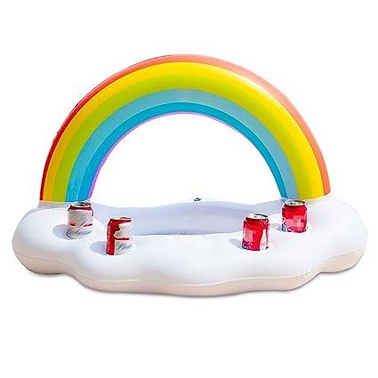 VSTON Arco Iris Portavasos Inflables Cloud Drink Flota para Piscina Piscina Portavasos Agua Playa Bebidas Frutas