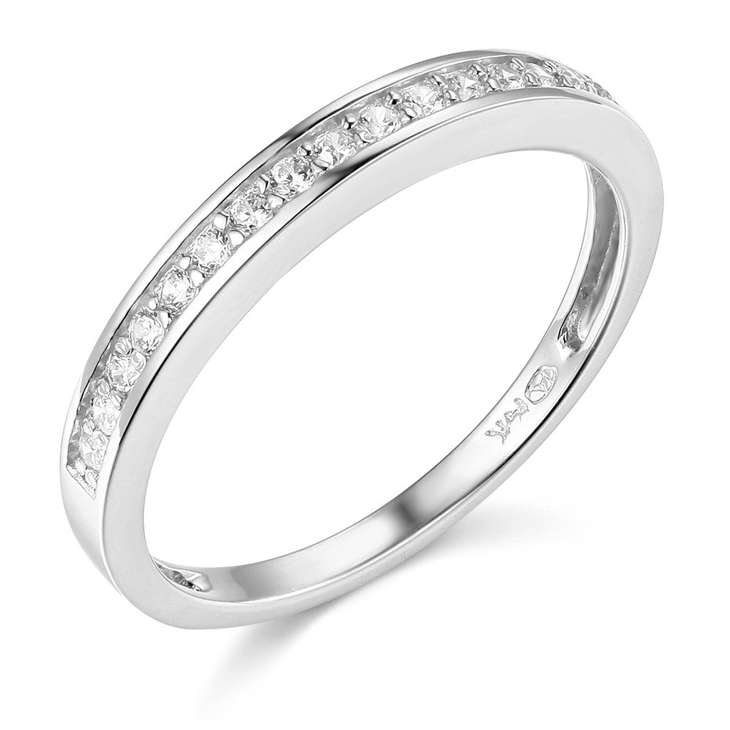 .925 Sterling Silver Rhodium Plated Wedding Band - Size 7.5