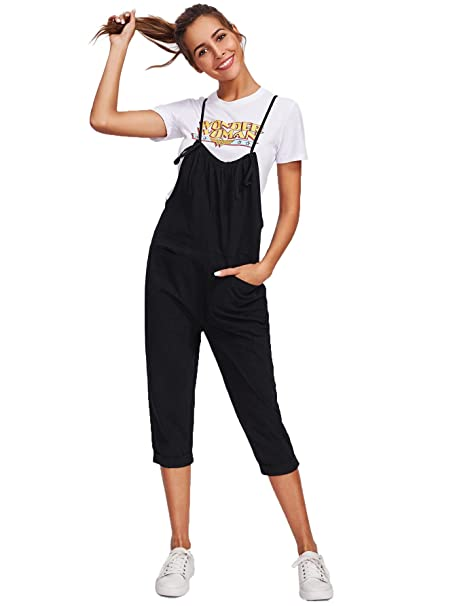 cd77a4935a95 Amazon.com  Romwe Women s Cute Self Tie Spaghetti Strap Pinafore Romper  Jumpsuit with Pockets Black  Clothing