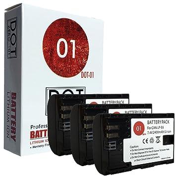 3 x dot-01 marca 2400 mAh de repuesto Canon LP-E6 baterías para ...