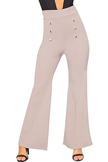 f7fd431d239 WearAll Women s Gold Button Accent Bootcut Trousers High Waist Flared Pants  at Amazon Women s Clothing store