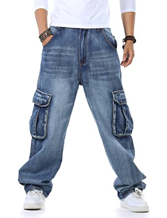 Plus Size Mens Jeans Cargo Pants Denim Work Hip Hop Casual Baggy Style  Relaxed-Fit fc31705523bc