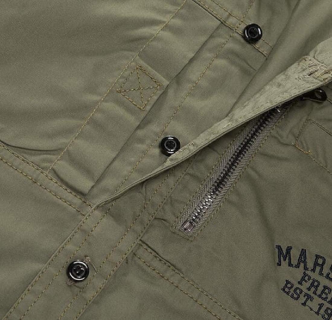 JXG Men Military Casual Long Sleeve Outdoor Button Up Loose Shirt Top