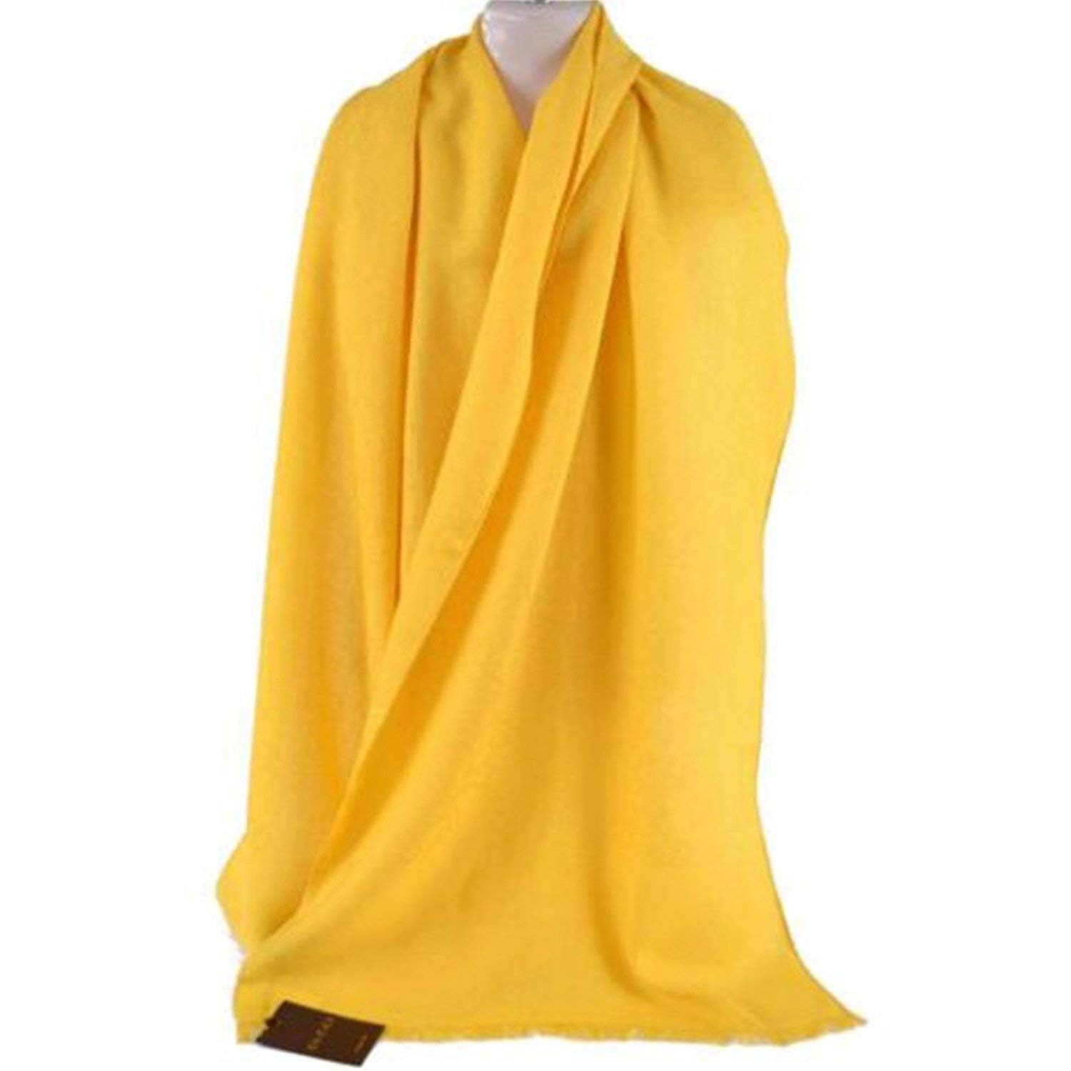 Gucci Scarf Yellow Silk and Wool Blend Designer Shawl 165904