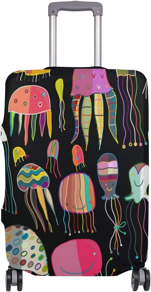 Baggage Covers Colorful Painted Jellyfish Pattern Washable Protective Case