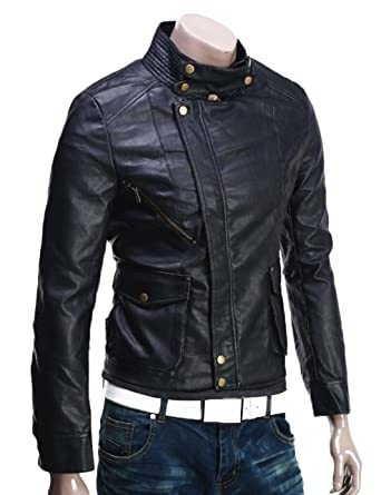 11fe9870a Men Leather Jacket New Soft Cow Leather Slim Biker Bomber Coat ...