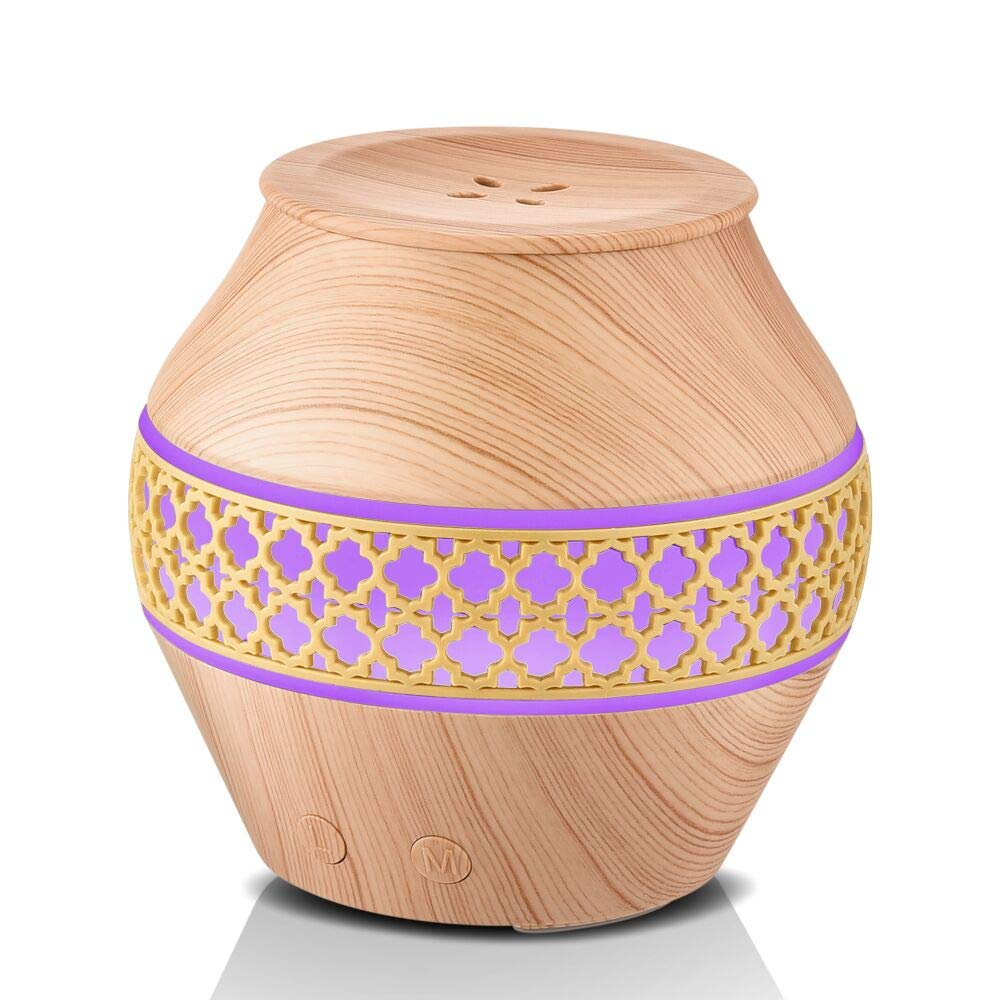 Aromatherapy Essential Oil Diffuser, Cool Mist Humidifier Small Portable Fragrance Oil Diffuser Humidifier with 4 Mist Output, Wood Grain for Baby/Office/Home/Study/Yoga/Spa/Travel