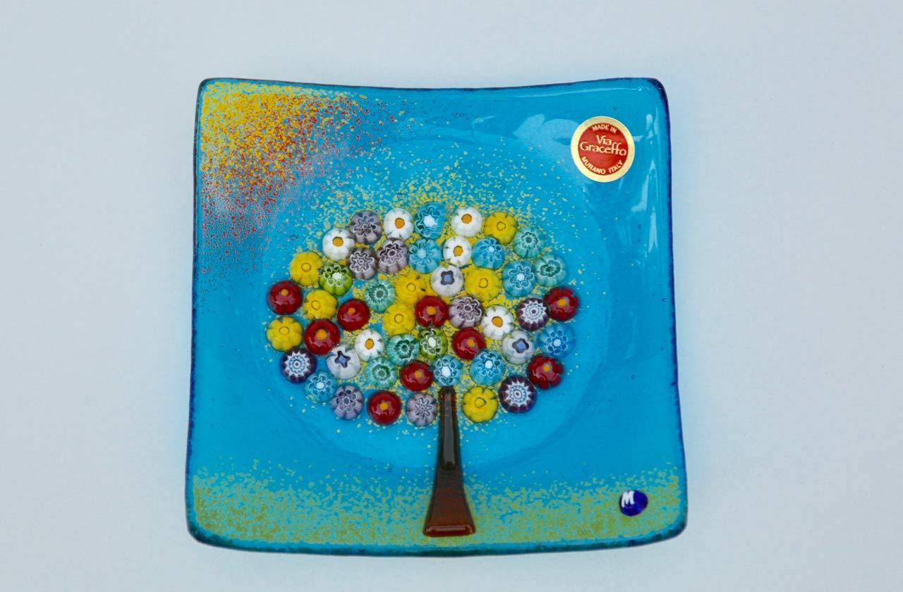 Large Via Graceffo Murano Glass Tree of Life Plate Turquoise