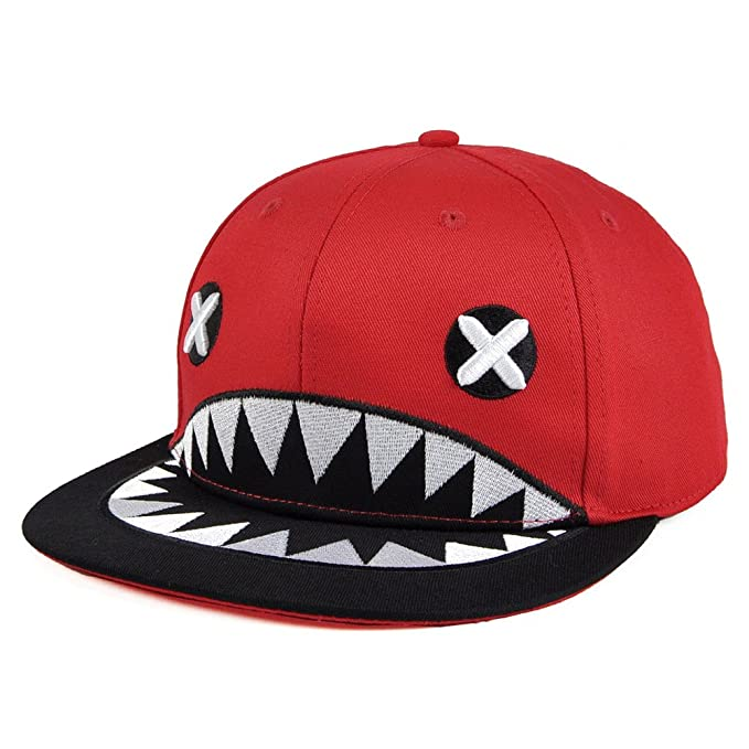 shark fin baseball cap paul amazon embroidered cross eye mouth teeth red clothing hat
