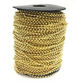BRUFER 72421 Ball Chain Spool 330 Feet Bulk Roll Gold Color 2.4mm Ball (3/32'') - #3 Size 100 Meters Bulk Chain Roll